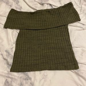 NWT Express Ribbed Off the Shoulder Tee